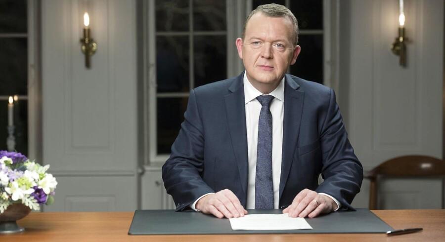 Statsminister Lars Løkke Rasmussen fra sin nytårstale på Marienborg.