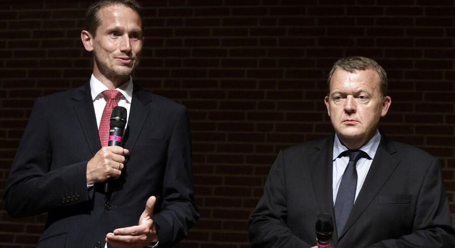 Venstres næstformand, Kristian Jensen, (th) og V-formand, Lars Løkke Rasmussen, (tv) til pressemøde efter mødet i Hovedbestyrelsen. (Foto: Niels Ahlmann Olesen/Scanpix 2014)
