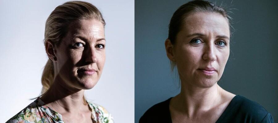 Uddannelsesminister Sofie Carsten Nielsen (R) og justitsminister Mette Frederiksen (S).