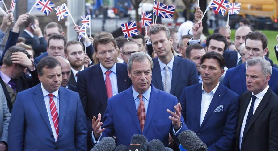 Nigel Farage, lederen af det EU-kritiske parti United Kingdom Independence Party (UKIP), i en tale. REUTERS/Toby Melville