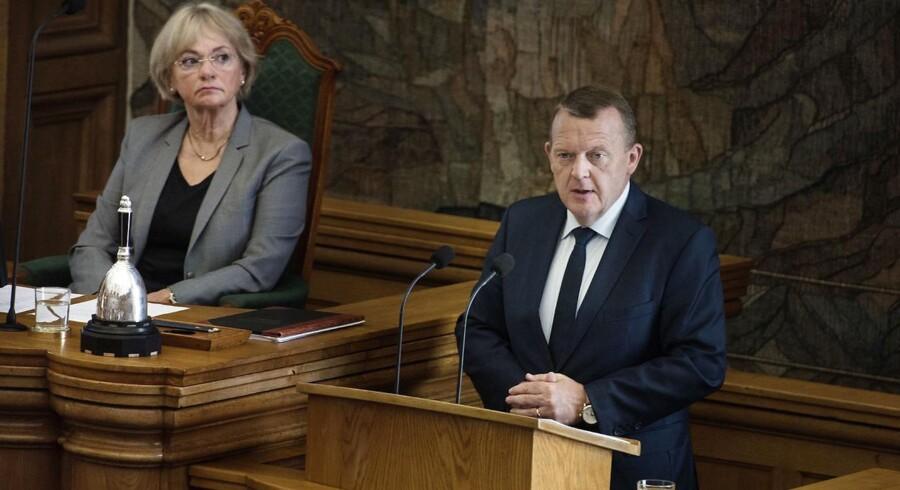 Den traditionelle afslutningsdebat i Folketinget onsdag d.01.06.2016. Lars Løkke Rasmussen og Pia Kjærsgaard. (Foto: Liselotte Sabroe/Scanpix 2016)
