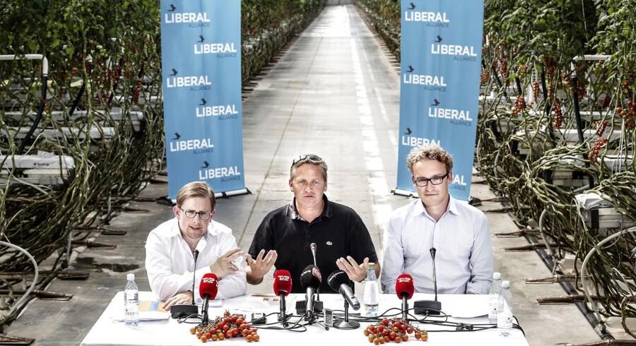 ARKIVFOTO: Liberal Alliances sommergruppemøde. Fra højre: Ole Birk Olesen, Anders Samuelsen og Simon Emil Ammitzbøll