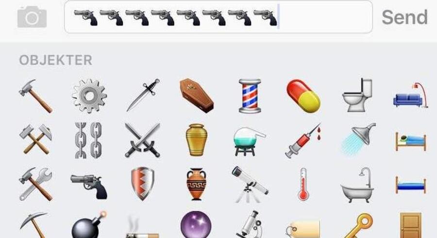 Den nuværende pistol-emoji hos Apple. Screendump.