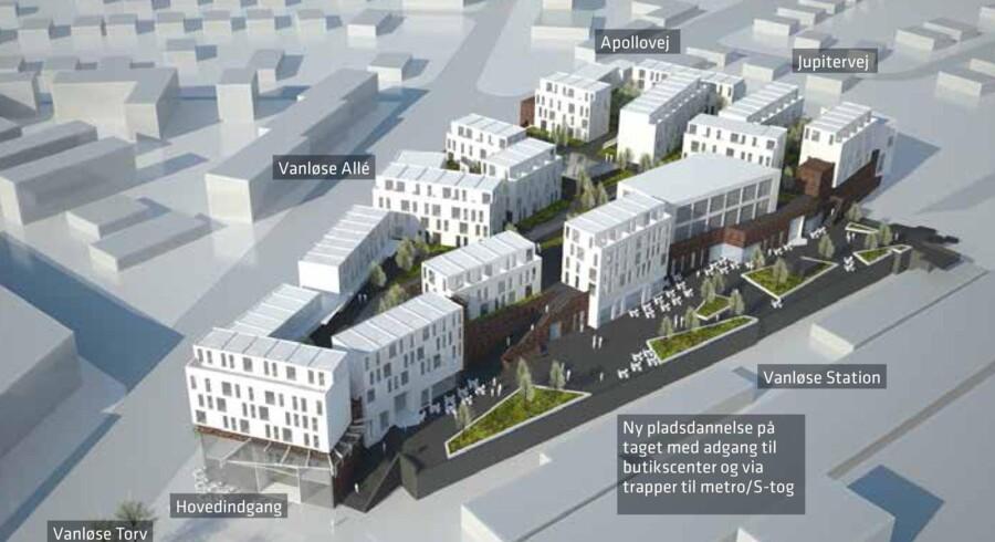 Galleria-projektet med butikscenter ved Vanløse Station bliver justeret, så der kommer boliger, men ingen kontorer som oprindeligt planlagt.