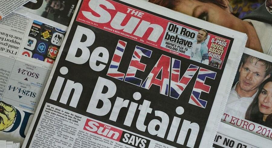Forsiden af avisen Sun, der opfordrer briterne til at stemme for et exit fra EU.