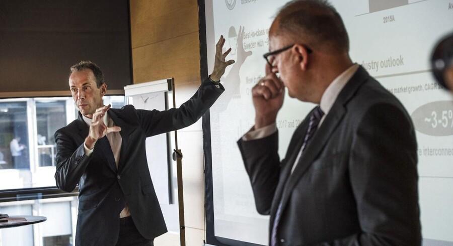 Arkivfoto: NKT Holdings bestyrelsesformand Jens Due Olsen og NKT Cables President & CEO Michael Hedegaard Lyng. (Foto: Søren Bidstrup/Scanpix 2016)