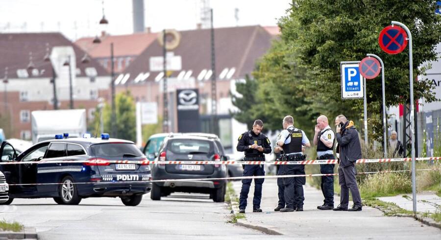 Politiet konstaterer torsdag, at der blev skudt mod en tilfældig lejlighed på Nørrebro tirsdag aften. (Foto: Bax Lindhardt/Scanpix 2017)