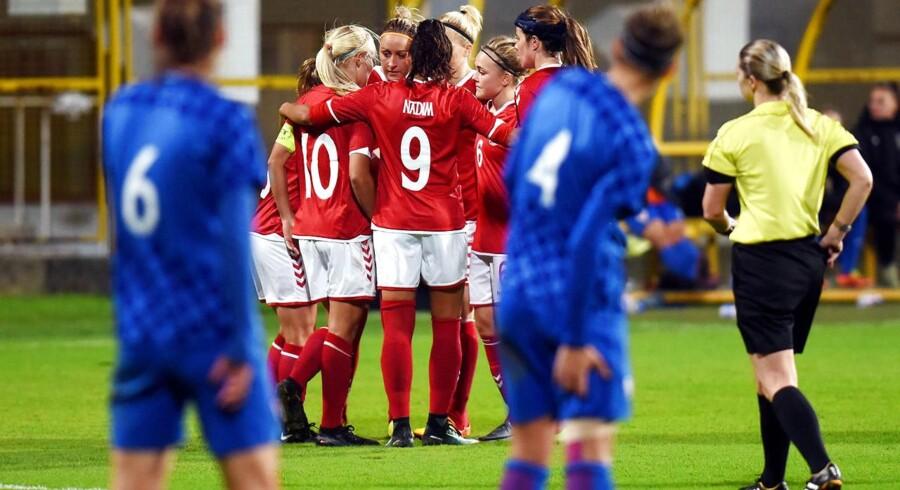 Dansk jubel efter en af aftenens fire scoringer i sejren mod Kroatien.