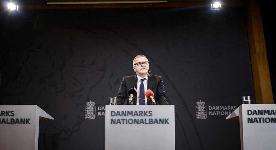 Pressemøde med Lars Rohde, Per Callesen og Hugo Frey Jensen i Nationalbanken d. 18. marts 2015. Kvartalsoversigt efter kroneangreb.