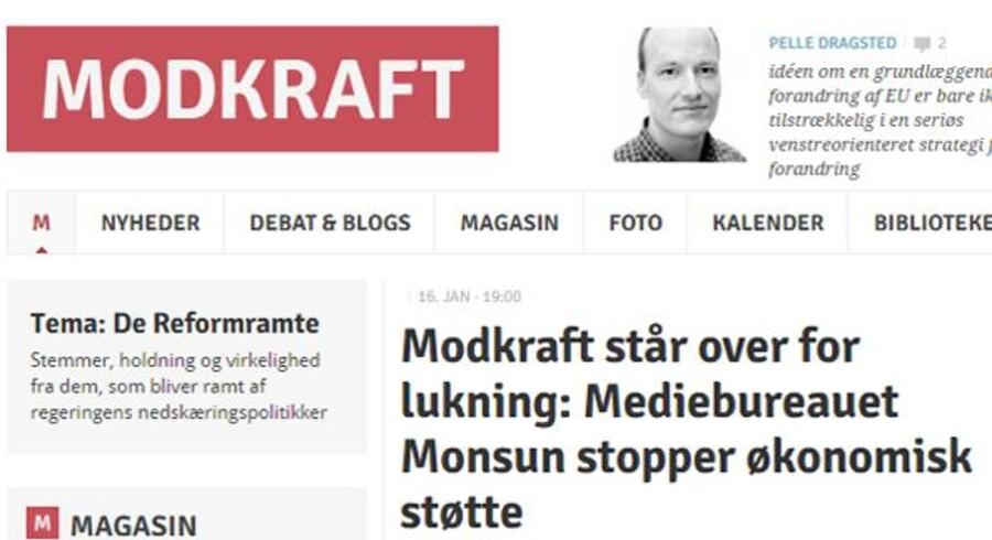 Det er formentlig slut med artikler fra mediet Modkraft fra 1. februar, da ejerne bag dropper støtten. Udsnit fra Modkraft.dk.