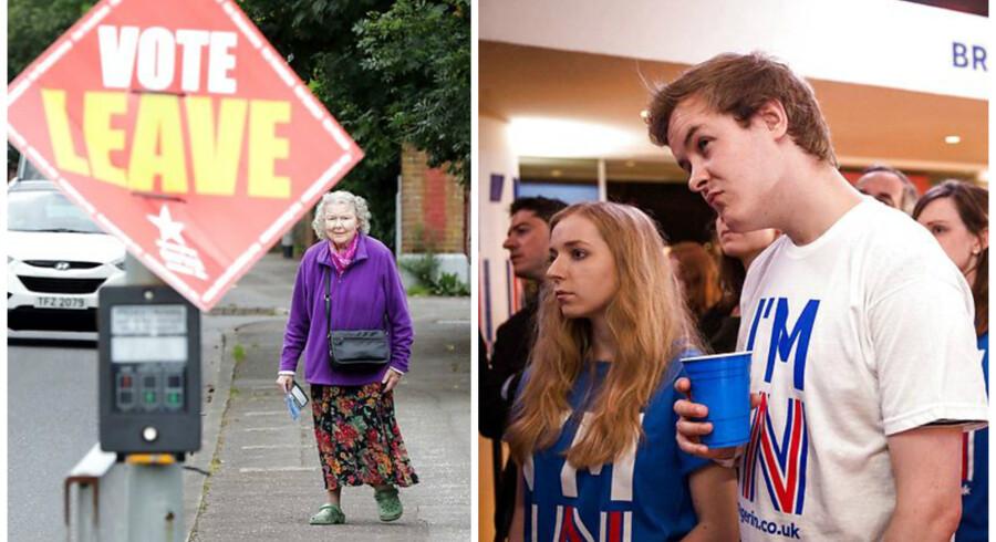 En ældre dame satte højst sandsynligt et kryds ud for »leave«, hvorimod de triste unge mennesker må sande, at deres »remain« ikke blev en realitet efter fredagens endelige valgresultat.