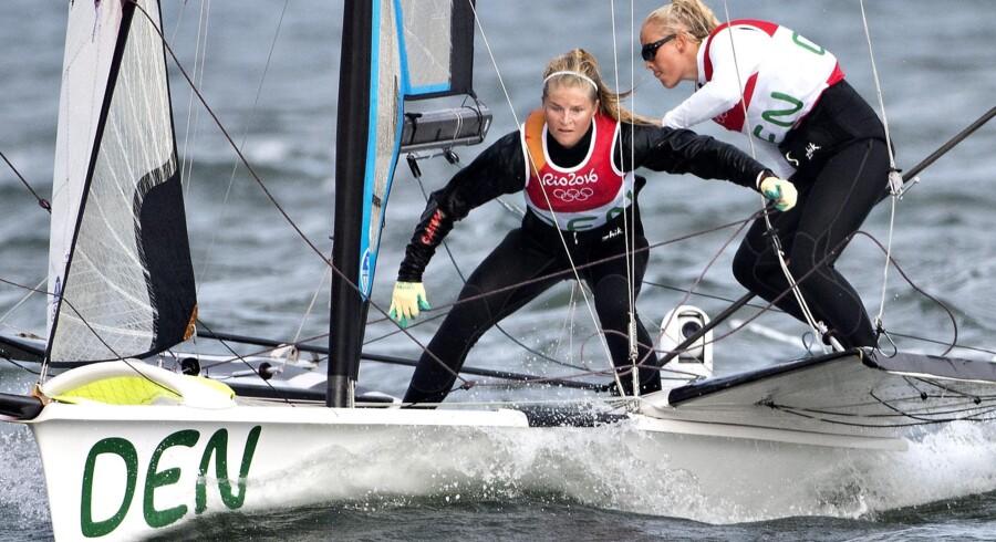 Jena Mai Hansen og Katja Salskov-Iversen ligger nummer to forud for finalesejladserne ved VM i Portugal. Scanpix/Jens Nørgaard Larsen/arkiv