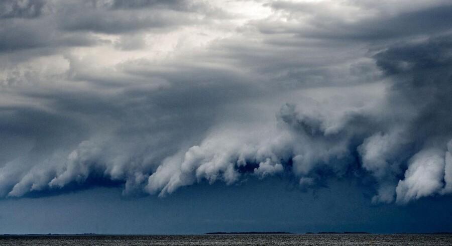 Her ses et billede af uvejret, der ramte Danmark fredag 9. juni - her blev Danmark ramt af regn og skybrud flere steder.
