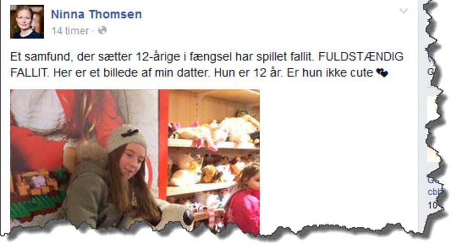 Ninna Thomsen har lagt et billede af sin 12-årige datter på sin Facebook-profil i argumentet imod sænkningen af den kriminelle lavalder.