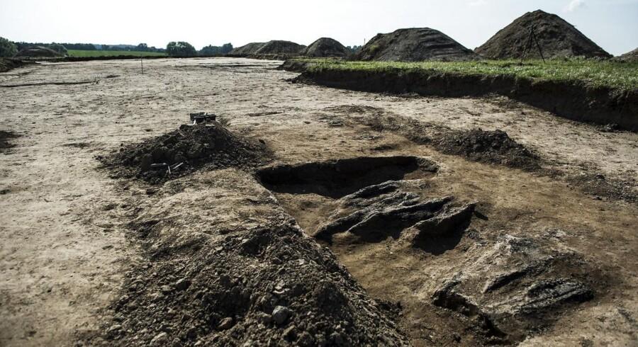 Arkivbillede af den nye vikingeborg fundet ved Køge.