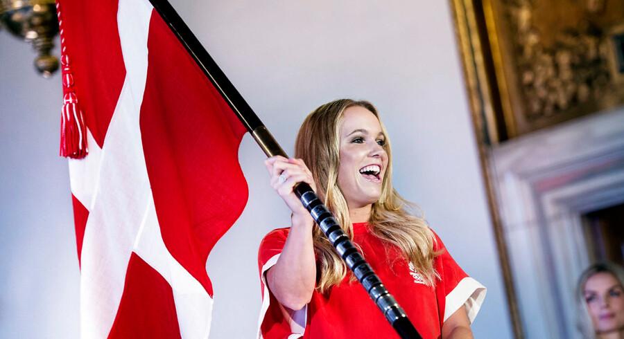 OL fanebærer og tøj præsenteres fredag d. 5. februar 2016 på Københavns Rådhus. Caroline Wozniacki. (Foto: Liselotte Sabroe/Scanpix 2016)