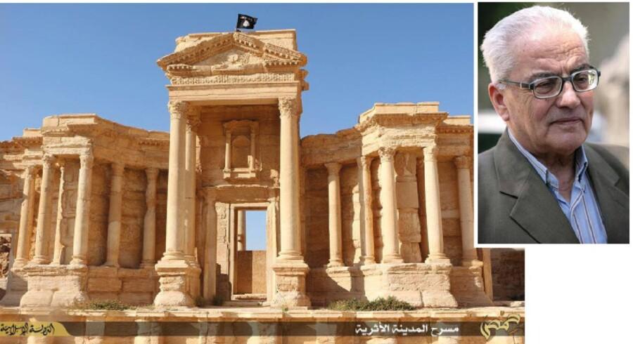 Islamisk Stats flag vajer over et antikt romersk teater i den historiske syriske ruinby Palmyra, som har været en del af IS' terrorregime siden maj. I denne uge varslede bevægelsens brutale halshugning af den 82-årige arkæolog og Palmyra-kender, Khaled al-Asaad (lille billede), om, at vi trods de mange uhyrligheder endnu ikke har set det værste i den syriske borgerkrig.