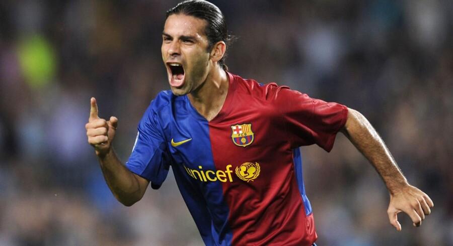 Rafael Marquez spillede i en årrække for FC Barcelona. Her jubler han over en scoring mod Sporting Lissabon i Champions League den 16. september 2008 AFP PHOTO/LLUIS GENE.