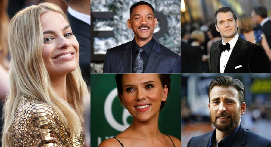 Her er de så. Filmstjernerne der i 2016 i den grad kunne få os op af sofaen og ind i biografens mørke. Det er de 10 skuespiller, der stod øverste på plakaten til de film, som tjente mest på billetsalg i 2016.