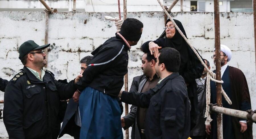 ARKIVFOTO 2014. Moderen til den dræbte Abdolah Hosseinzadeh får lov til at slå sin søns drabsmand, før han skal hænges i Nowshahr. Kort efter fjernede hun løkken om mandens hals og sparede hans liv.