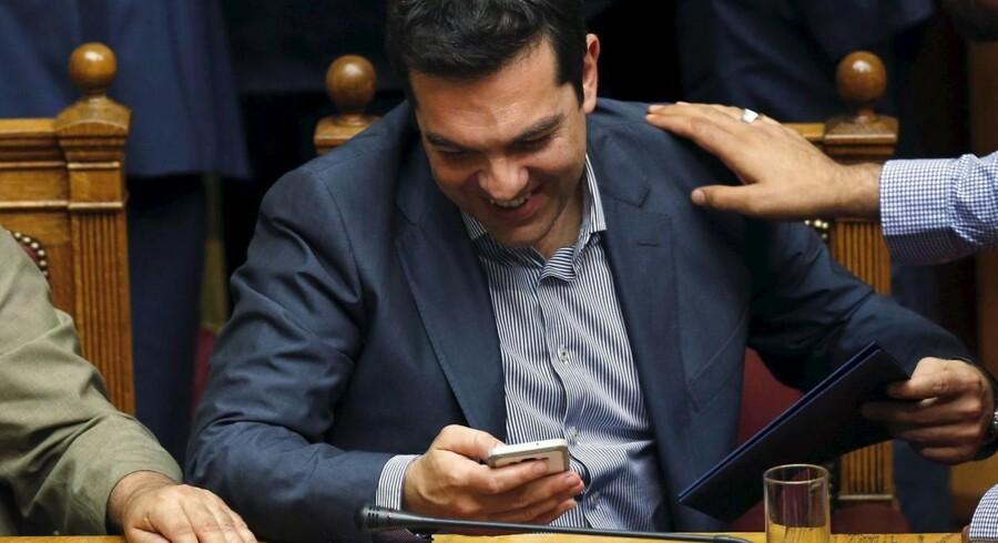 Den græske primierminister Alexis Tsipras under fredag aftens parlamentsafstemning