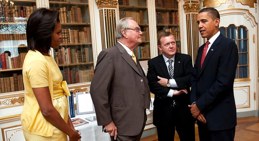 Barack og Michelle Obama besøger dronning Margrethe og prins Henrik på Amalienborg. Her med Lars Løkke Rasmussen (V)