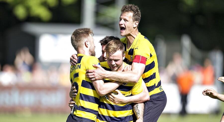 Superligaoprykkerne fra Hobro har haft travlt i sommerens transfervindue og henter nu to unge spillere i AaB. (foto: Henning Bagger / Scanpix 2017)