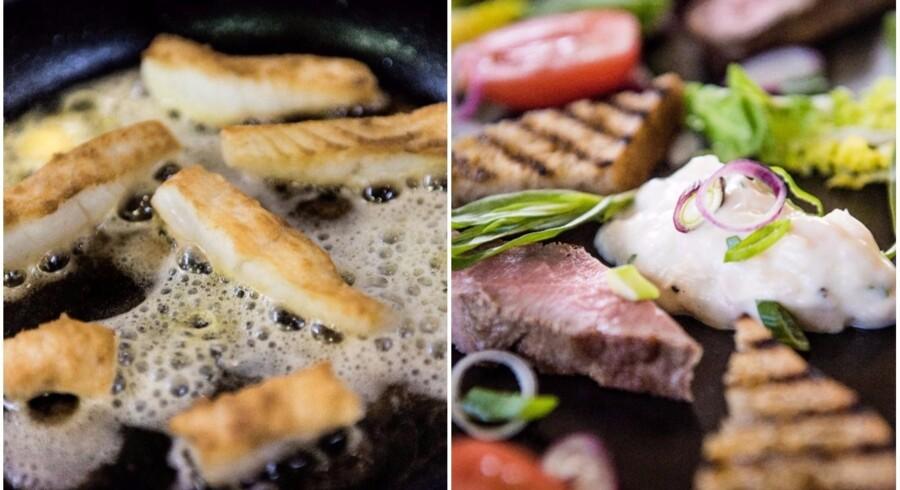 Sommermad: Stegte fiskefingre med dip og grønt og kold steg a la Vitello tonnato