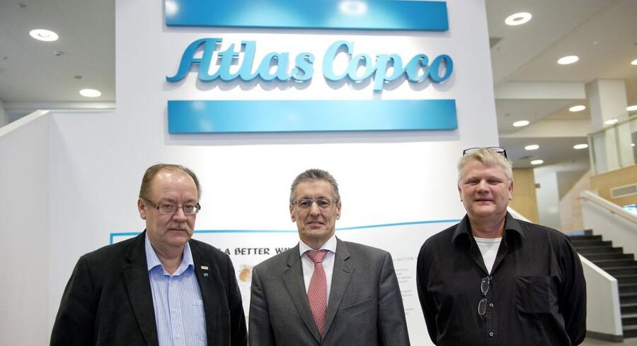 Ronnie Leten (i midten), CEO hos Atlas Copco, sammen med Mikael Bergstedt (til højre) og Bengt Lindgren (til venstre).