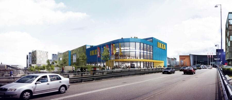 Det kommende IKEA ved Fisketorvet, som arkitekterne forestiller sig, det vil se ud. Foto: IKEA.