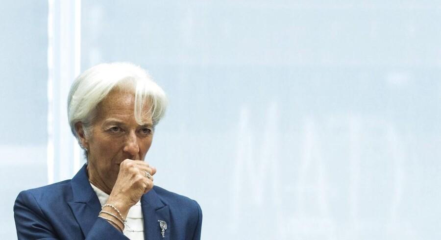 Chef for Den Internationale Valutafond (IMF), Christine Lagarde. IMF vil kun være en del af lån til Grækenland, hvis grækerne accepterer hårde reformer og europæerne accepterer en gældslettelse. AFP PHOTO / JOHN MACDOUGALL