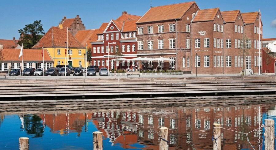 Det varme vejr giver rekordhøje stigninger i de danske hotelbookinger. Foto: Tornøes Hotel i Kerteminde