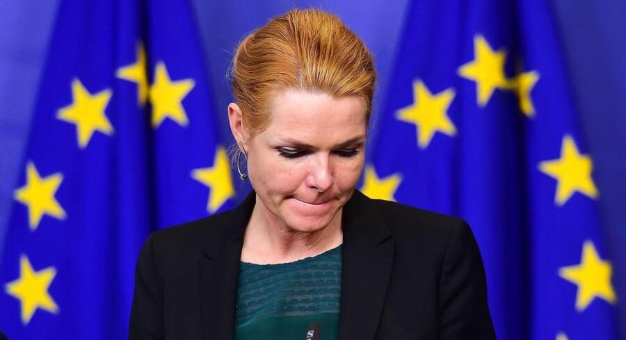 Støjberg under onsdagens pressemøde i Bruxelles.