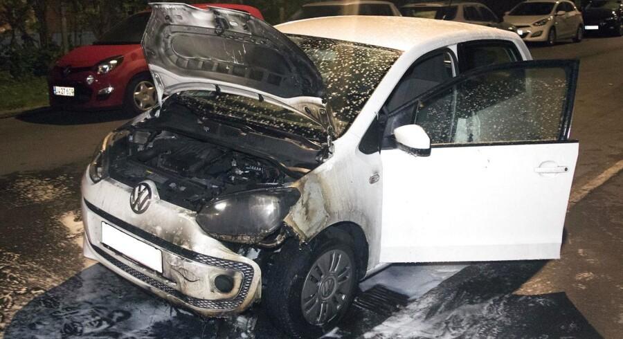 Udbrændt bil på Kretavej i København natten til søndag, d. 21. august 2016.