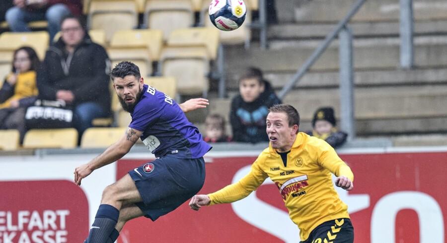 Marc Dal Hende viste igen sin målfarlighed, da han afgjorde kampen i Horsens til FC Midtjyllands fordel. Scanpix/Claus Fisker