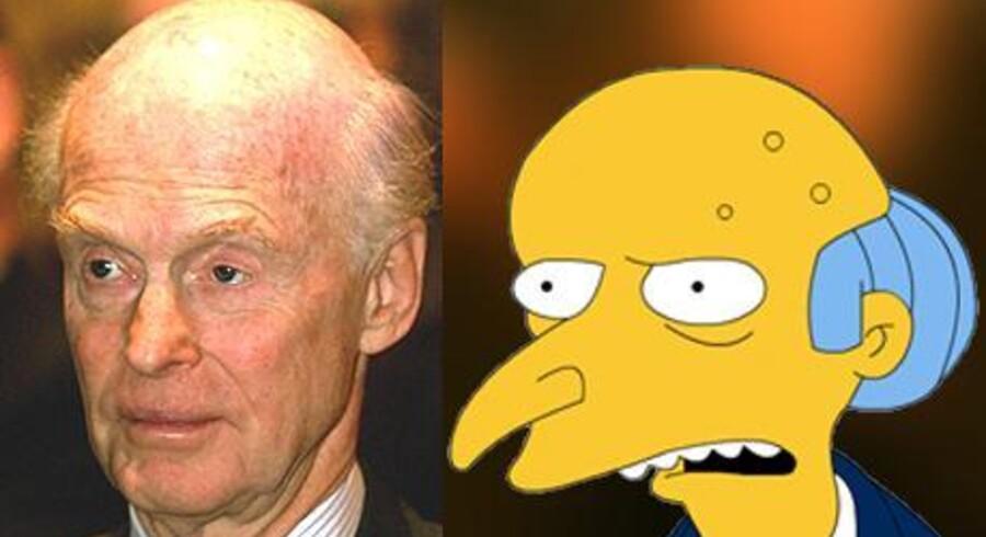 I årevis troede mange, inklusive han selv, at den norske skibsreder Fred Olsen var inspirationskilde til den griske rigmandsfigur i tegneserien The Simpsons. Det var han ikke, viser det sig. Men lighedstegnene?