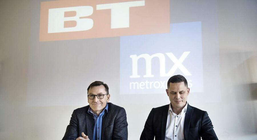 BTMX Pressemøde. Pressemøde om sammenlægning af BT og Metroxpress hos Berlingske Media.D Til stede: Mette Maix, adm. direktør for Berlingske Media, Jens Grund, konstitueret ansvarshavende chefredaktør i selskabet, og Thomas Raun, som i dag er adm. direktør for MX.