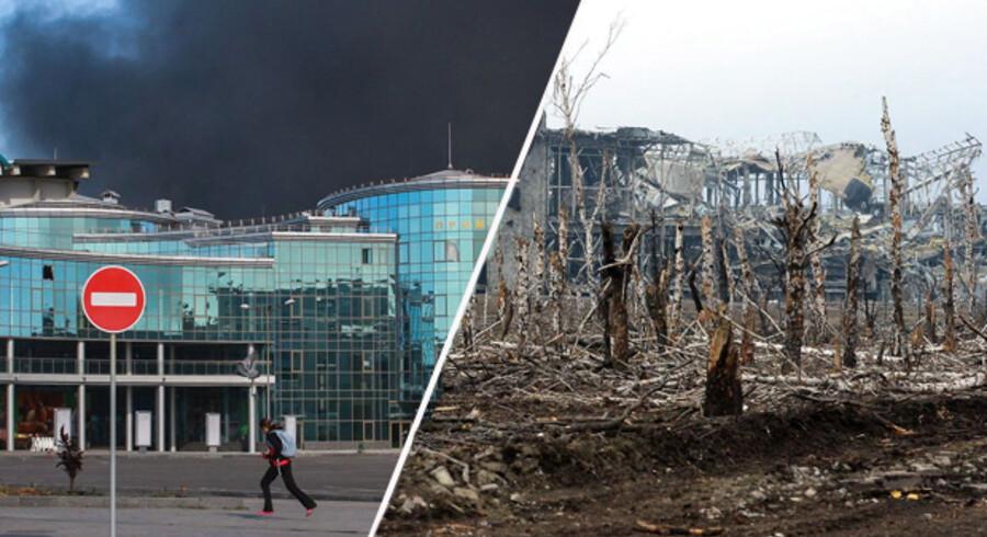 Fodboldstjerner fra hele Europa trillede kufferterne gennem den travle lufthavn i Donetsk i 2012. Kampene i Ukraine har imidlertid sat deres tydelige spor: På mindre end et år er den gået fra at være en moderne og travl lufthavn til en sønderskudt ruin.