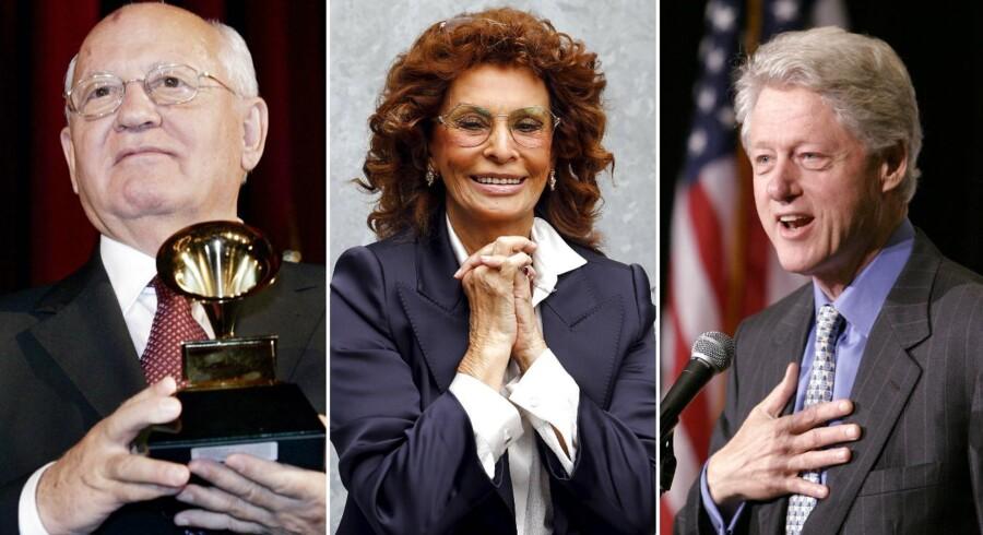 Her ses Mikhail Gorbachev med den Grammy, han vandt sammen med Bill Clinton og Sophia Loren i 2004.