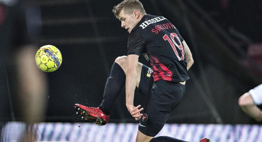Alexander Sørloth har været flyvende for FC Midtjylland i det halve år, han har været i klubben, og nu kan han snart være fortid i Herning. Scanpix/Henning Bagger