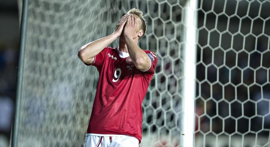 Feyenoord-angriberen Nicolai Jørgensen er skadet og ikke med i truppen på det danske fodboldlandshold, der møder Montenegro og Rumænien i VM-kvalifikationen.