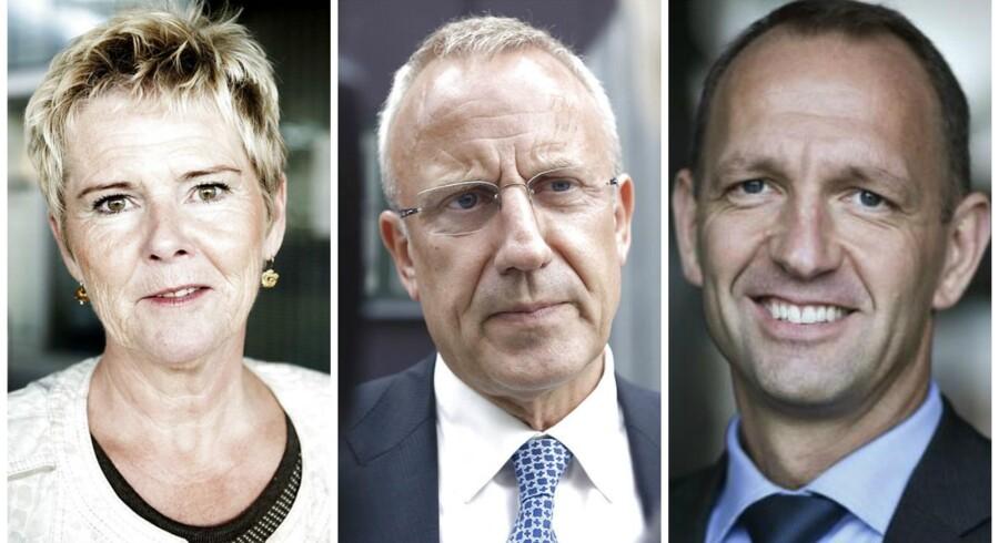 Disse tre er udråbt til at være nøglepersoner i de kommende trepartsforhandlinger. Lizette Risgaard, formand i LO, Besæftigelsesminister Jørn Neergaard Larsen (V) og næstformand i DA, Jacob Holbraad.