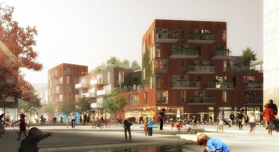 Arkitekttegning af projektet.