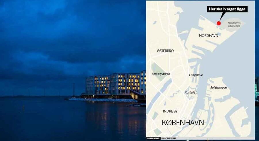Københavns nye undervandsattraktion, et skibsvrag af beton, kommer til at ligge 100 meter fra kysten i Nordhavn. På billedet ses FN-bygningen et stykke derfra.
