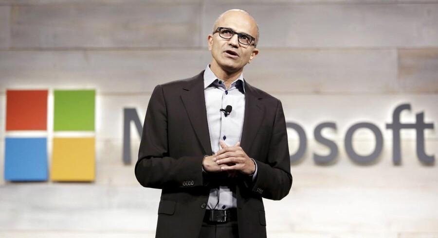 Microsofts topchef siden januar 2014, Satya Nadella, har tilsyneladende succes med at føre Microsoft væk fra den store binding til kerneprodukter og ud på nye områder. Arkivfoto: Jason Redmond, Reuters/Scanpix