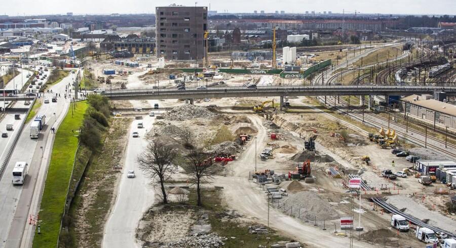 Byggepladsen ved Dybbølsbro og Fisketorvet i København. Planen er at her skal der bygges en IKEA, men der bliver kun plads til halvt så mange parkeringspladser som i IKEA's andre butikker.