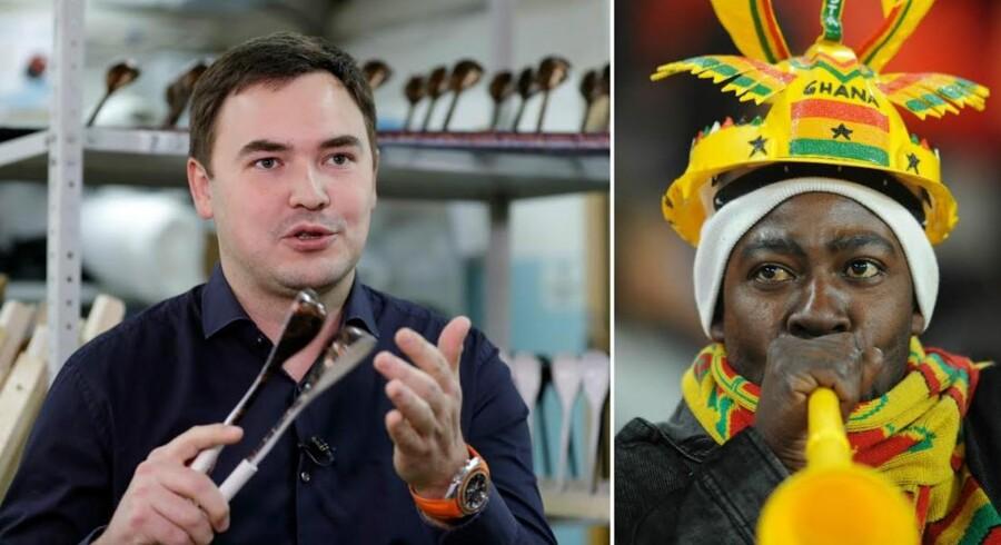 Så varmes der op til »underlægningsmusik« til foldboldkampene. Manden bag de nye sejrsskeer til VM i Rusland, Rustam Nugmanov (tv.), og en vuvuzela-truttende fodboldfan til VM for otte år siden. Foto: Tatyana Makeyeva og Rodrigo Arangua
