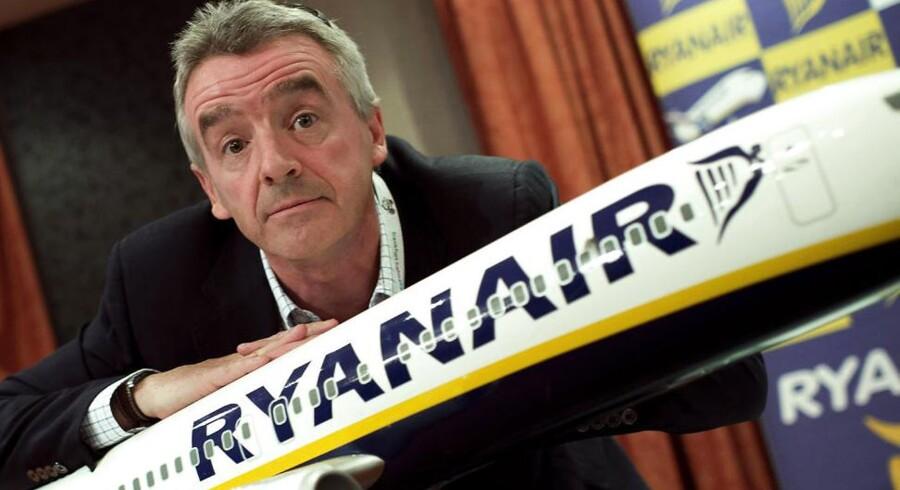 Ryanairs kontroversielle direktør, Michael O'Leary, kommer ikke til at satse på langdistanceflyvninger fra Europa til USA trods meldinger om det modsatte tidligere på uge. AFP PHOTO / Dani POZO