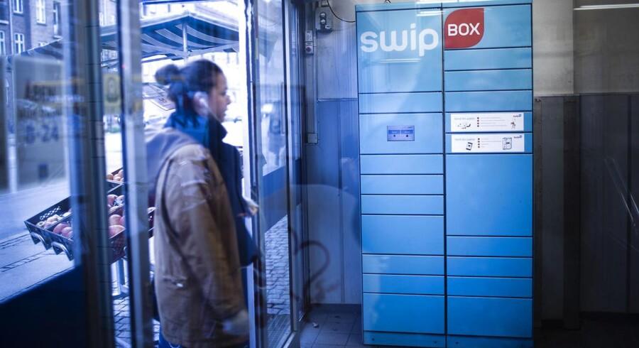 Swipbox har indtil videre sat 350 pakkebokse op i Dansk Supermarkeds butikker og har aftale med 100 netbutikker. Her er en af pakkeboksene i Døgnnetto på Jagtvej i København.