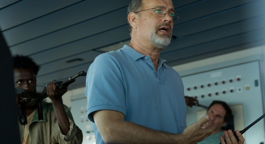"Tom Hanks spiller hovedrollen som Richard Phillips i den nye film, ""Captain Phillips"". Foto fra filmen."